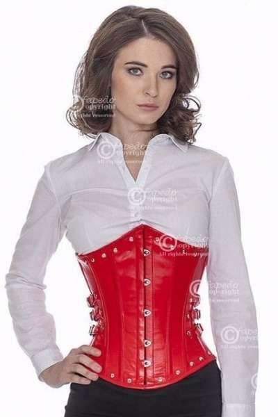 Korsett Rot Leder Unterbrust mit Nieten und seitlichen Schnallen lg23