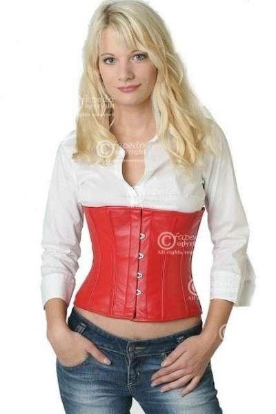 Korsett Rot Taillen Leder lw23